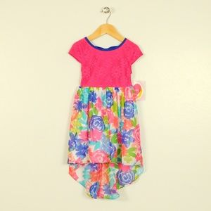 Youngland Girls 4 Lace Floral High Low Dress NWT